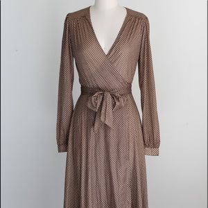 Vtg Poly Deco Print Slinky True Wrap Dress S/M